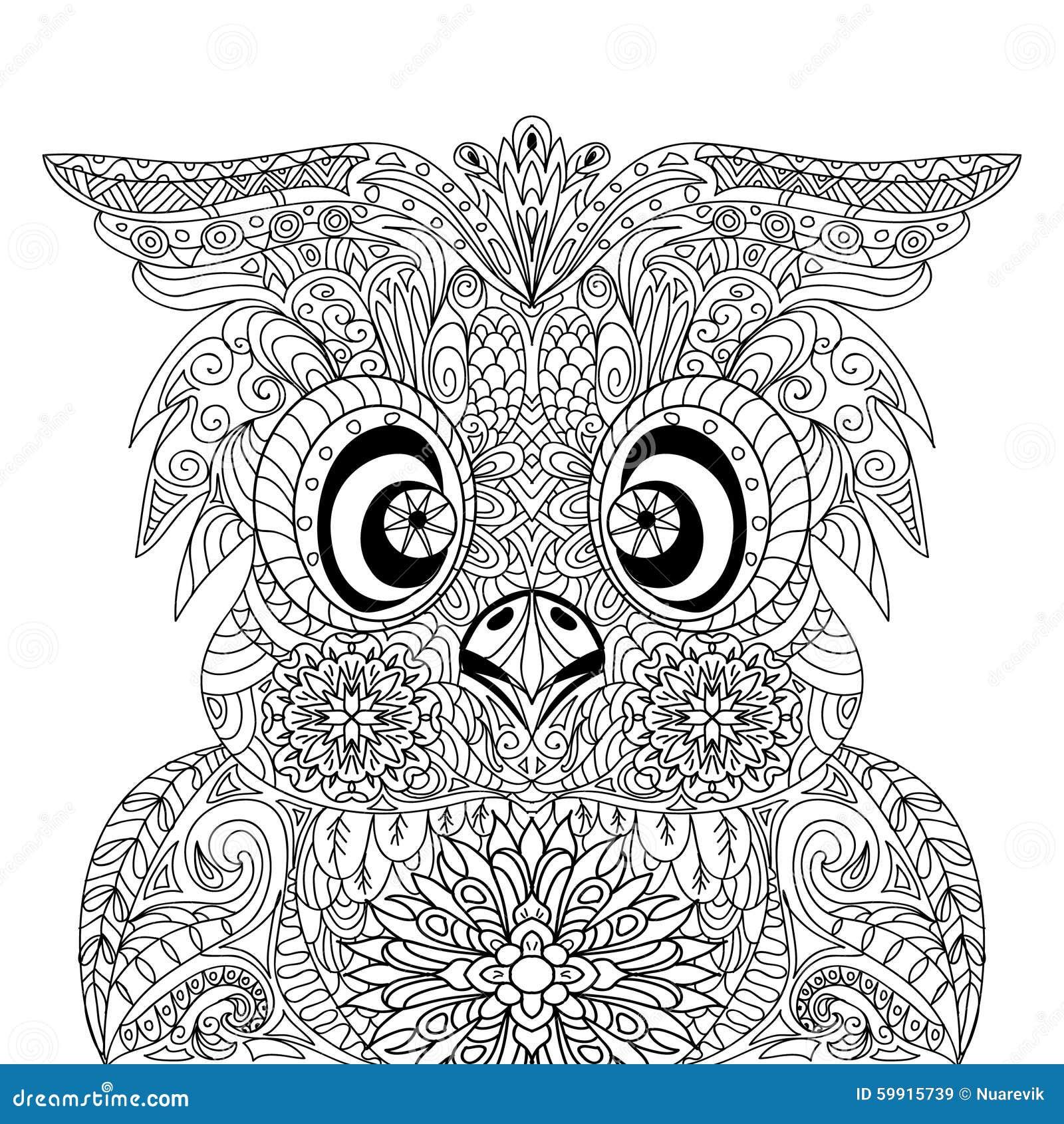 Owl Portrait Mandala Zentangle Stock Illustration Image