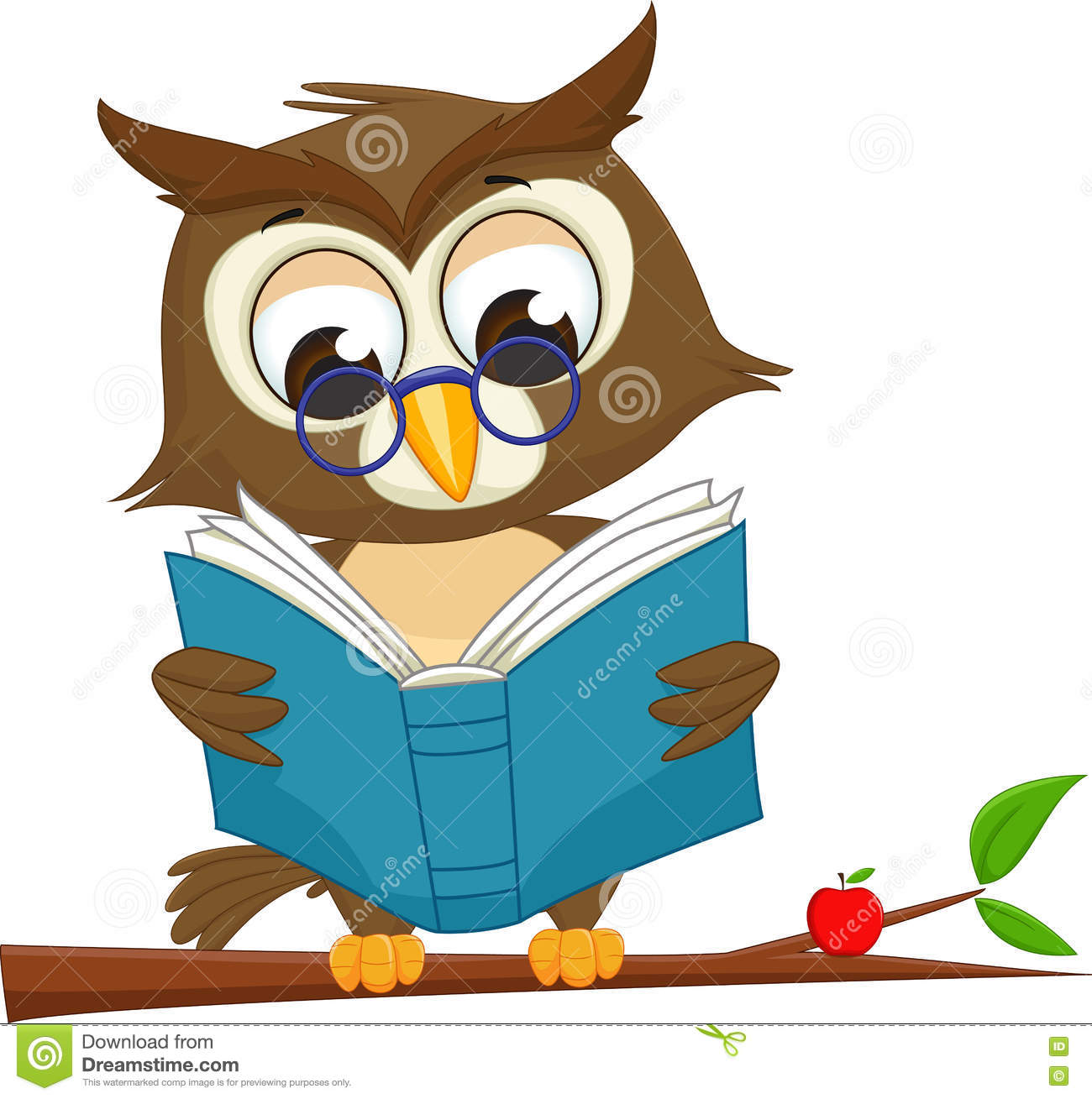 Todd Clipart 20 Fee Cliparts Download Imagenes: Owl Reading A Book On Tree Branch Stock Vector