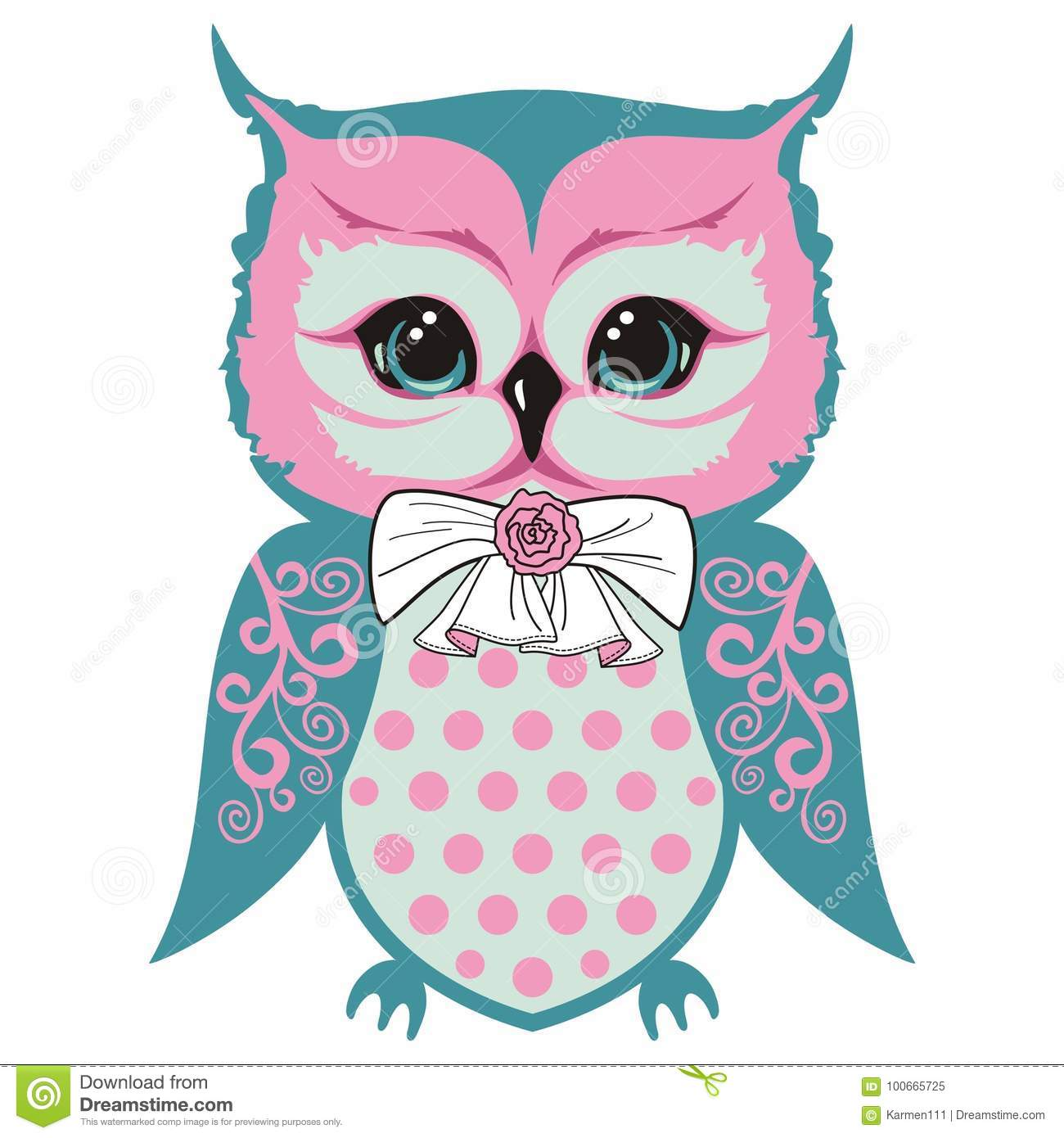 Owls cub is a small beautiful bird with a bow and a rose