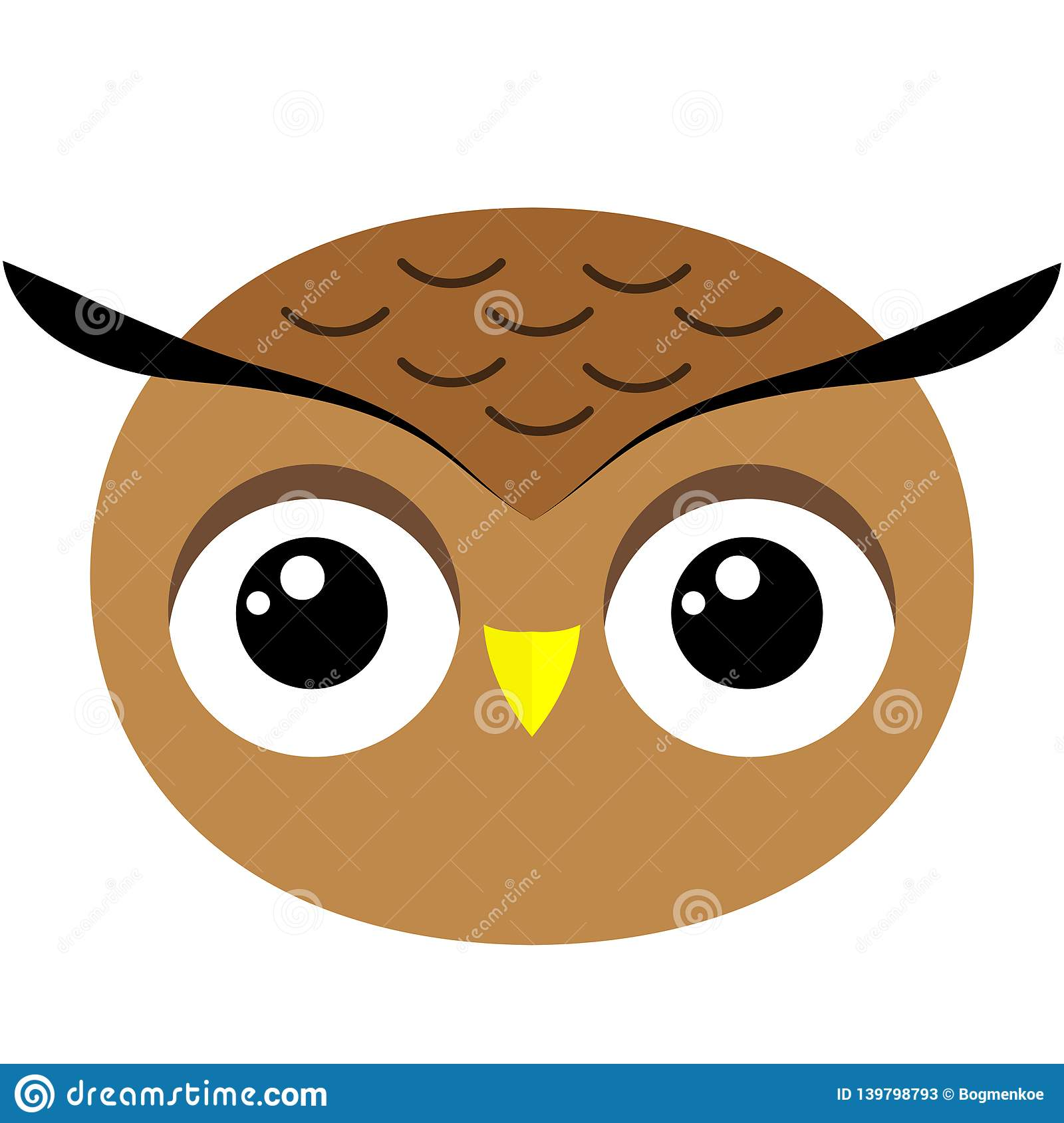 Owl`s Face Cute Simple Image Stock Illustration ...