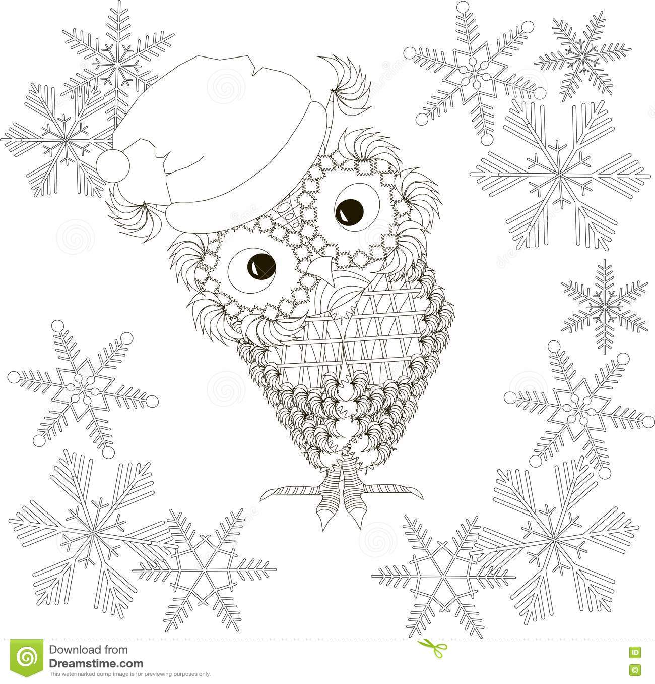 Owl In Santa Claus Hat, Snow-flakes, Coloring Page Anti Stress Stock ...