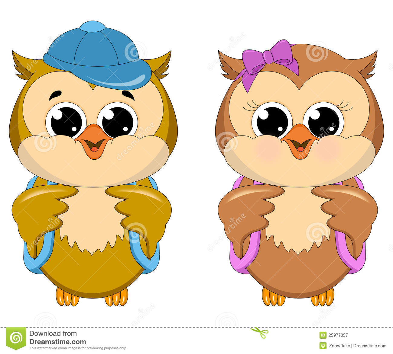 Owl School Girl And Boy Royalty Free Stock Photography - Image ...