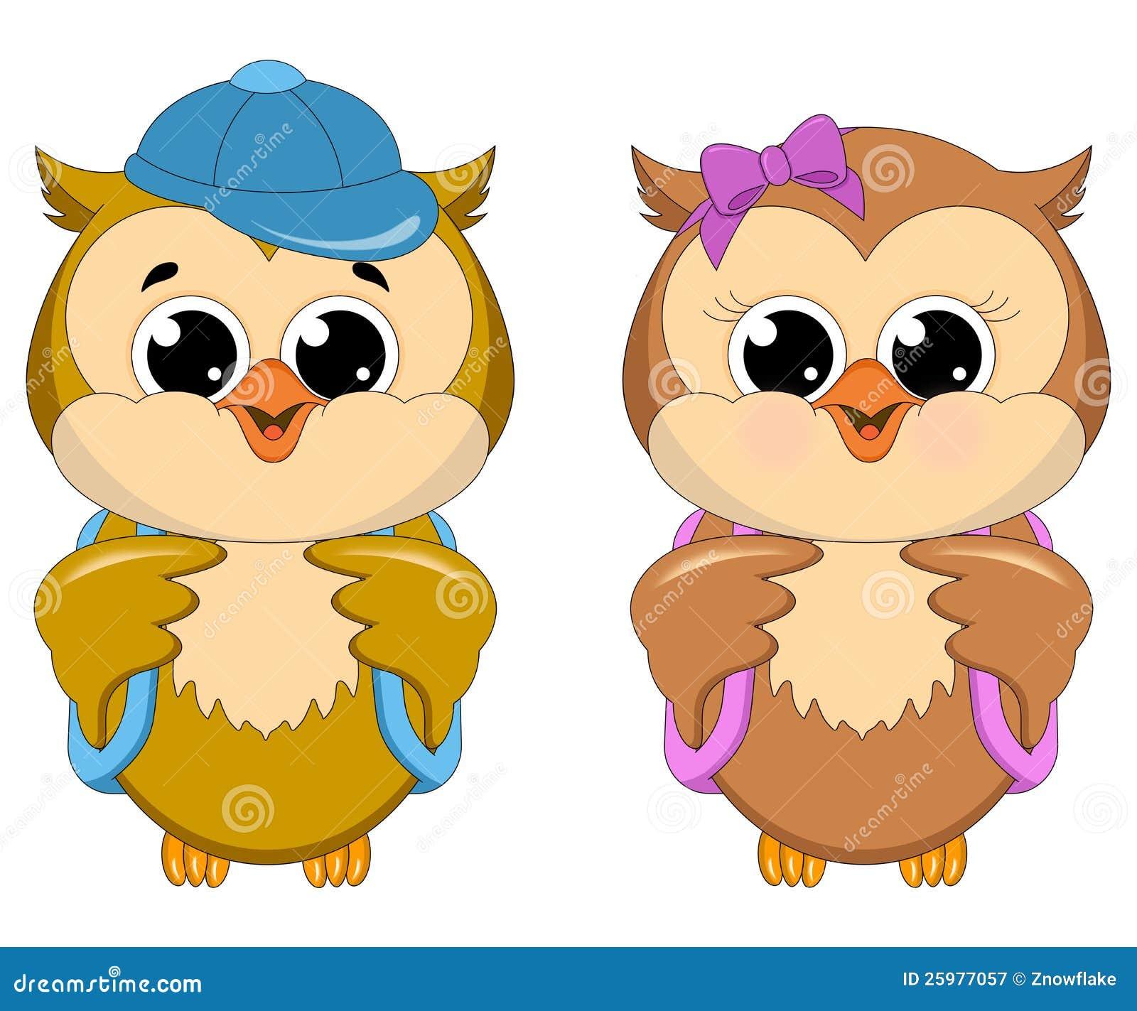 owl school girl and boy stock illustration illustration Cartoon Owl Clip Art Cute Owl Clip Art