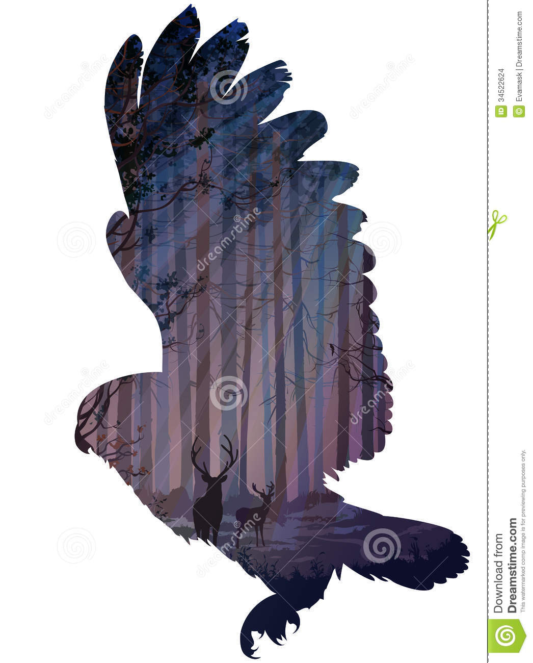Silhouette of a flying owl. inside the forest with rays of light, deer ... Eagle Silhouette Vector