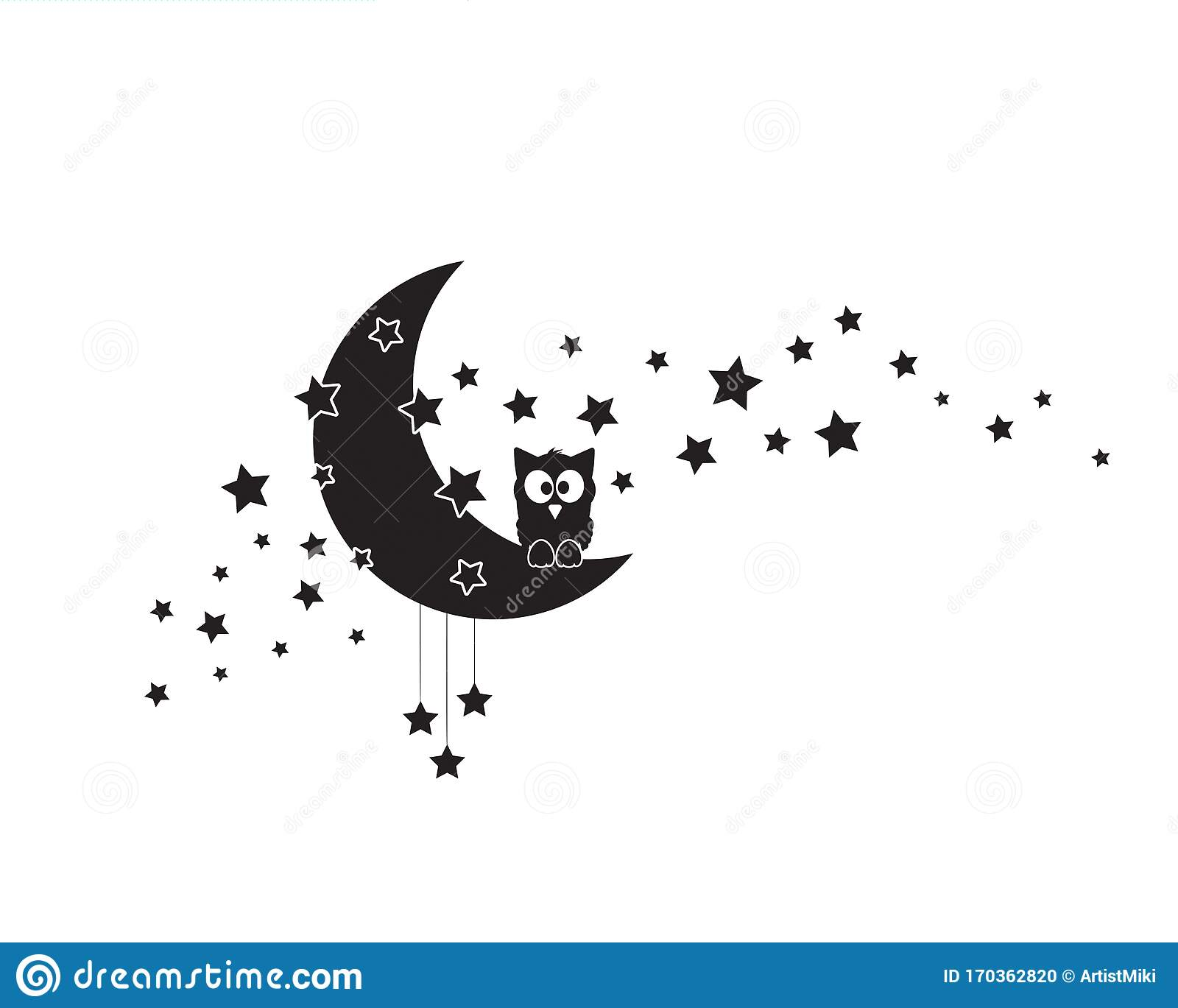 Owl Silhouette On Moon Vector Moon With Stars Illustration Wall Art Design Wall Artwork Wall Decals Stock Vector Illustration Of Decals Black 170362820