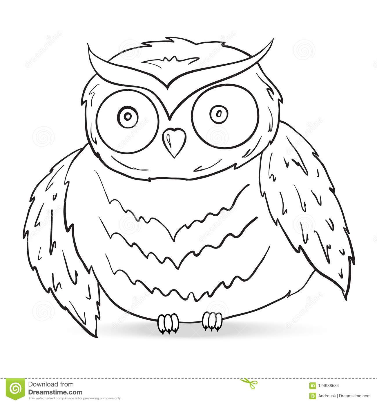 Owl silhouette vector stock vector. Illustration of coloring - 124938534