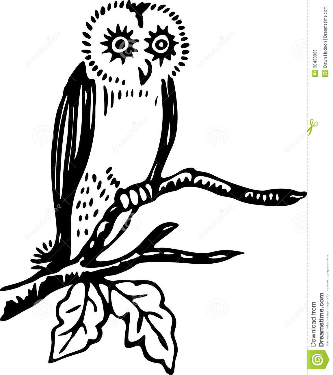 Simple Black And White Line Art : Owl stock vector image of wildlife illustration animal