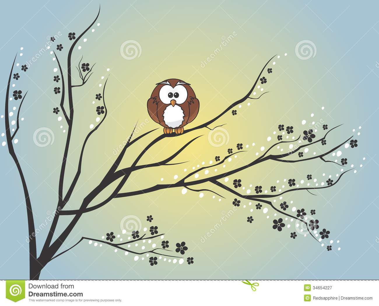 Owl Sitting On Tree Stock Illustration Illustration Of Line 34654227 Html5 available for mobile devices. dreamstime com