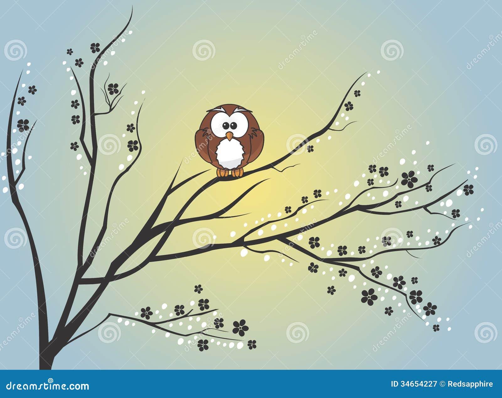 Owl Cartoon In Tree