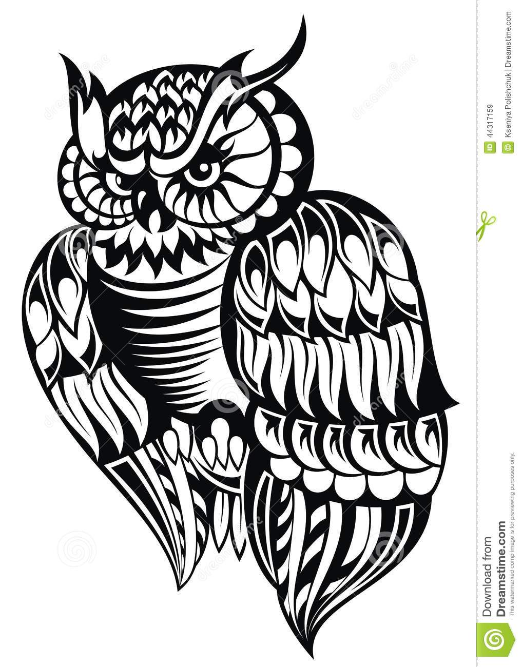 Owl Tattoo Design Stock Vector Illustration Of Design 44317159