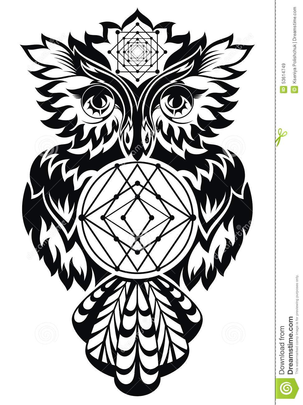 Owl Tattoo Design Illustration 53614749 Megapixl
