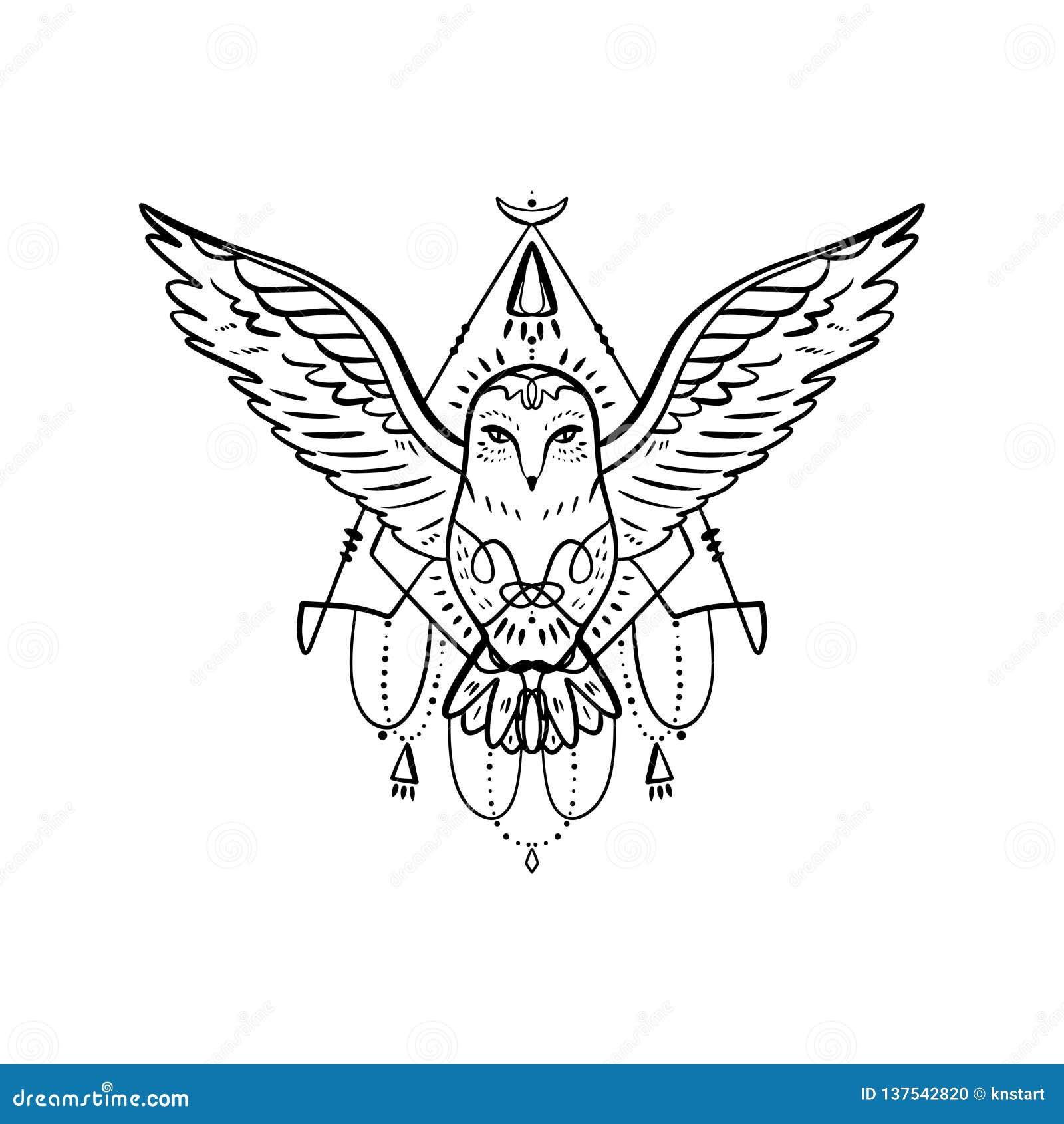 cc60c2d6b2429 Owl tattoo outline. Boho tribal style. Line ethnic ornaments. Poster,  spiritual art, symbol of wisdom. Antistress art. Good for t-shirts design,  bags, ...