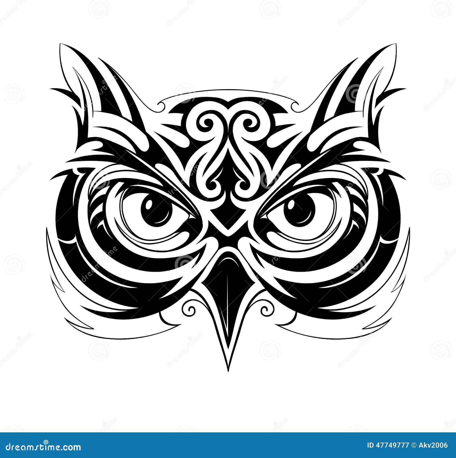 Owl Tattoo Shape Stock Vector