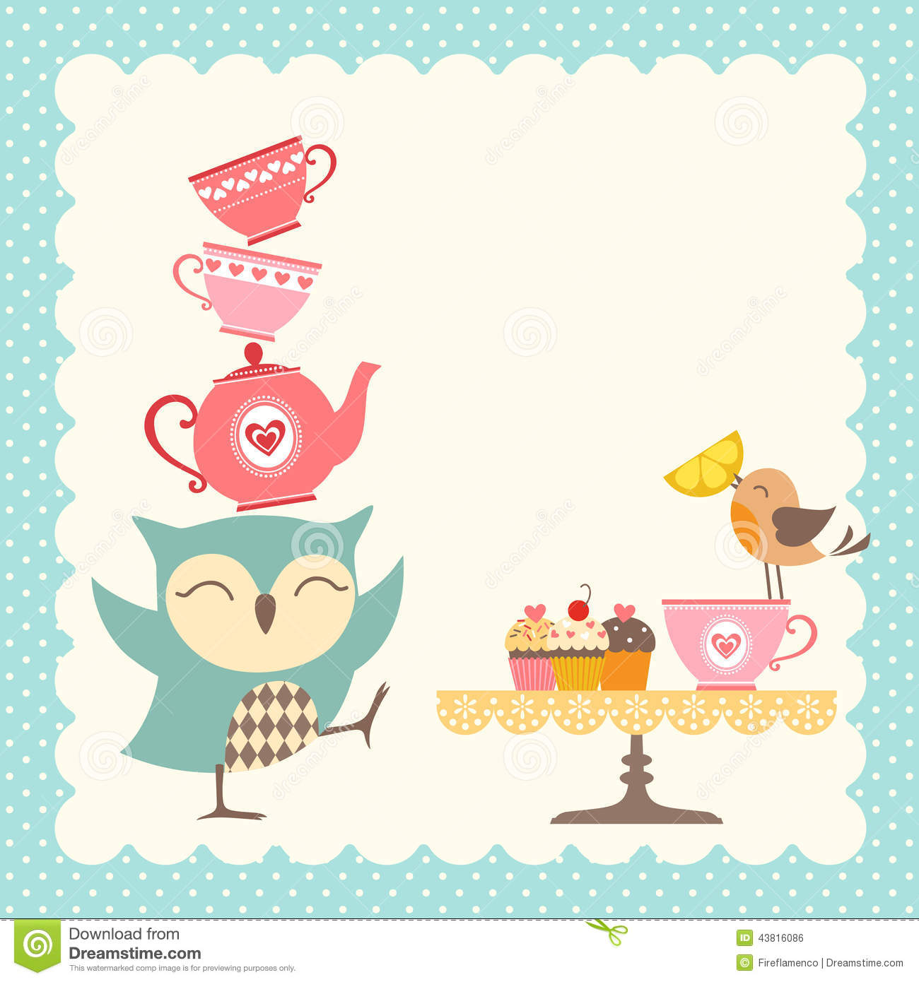 Owl Tea Time Stock Vector - Image: 43816086