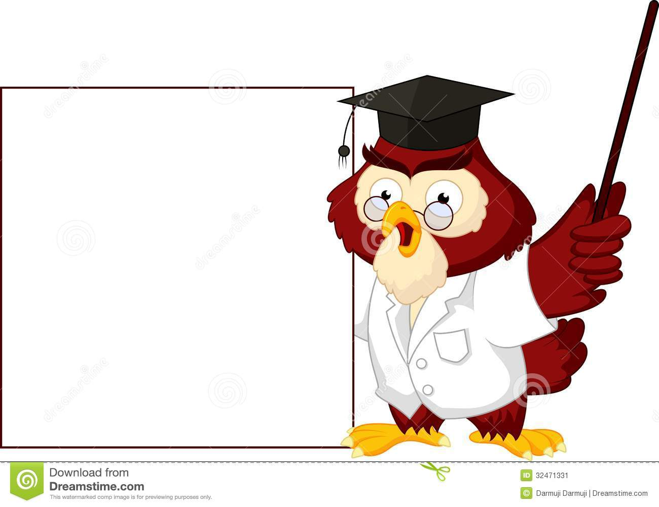 Illustration of Owl teacher cartoon with blank sign Owl Teacher Cartoon