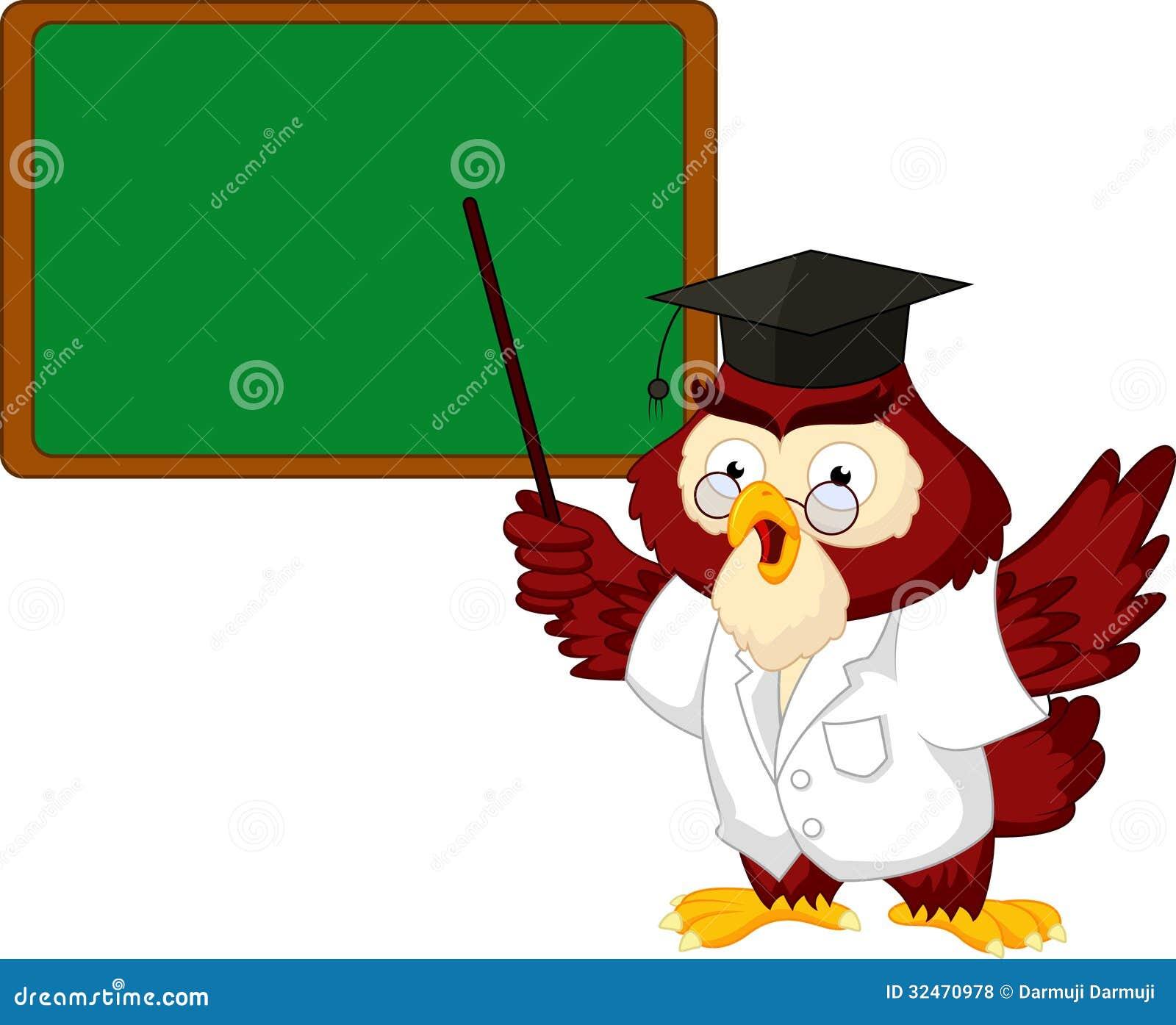 Owl Teacher Cartoon With Board Royalty Free Stock Photos