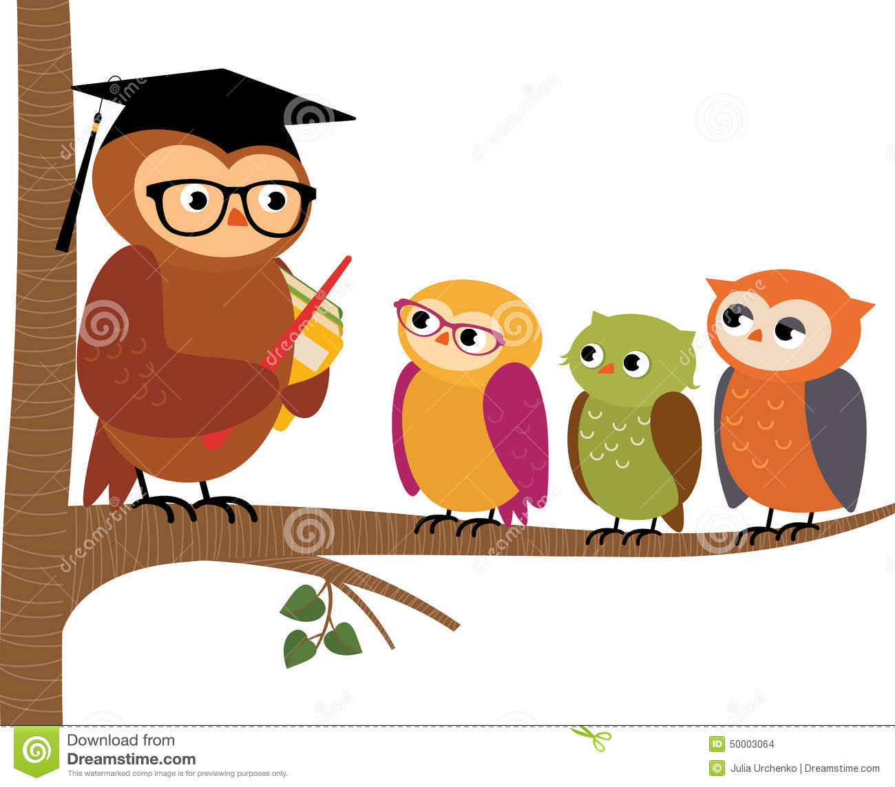 Architecture Lessons Owl Teacher And His Students Stock Vector Image 50003064