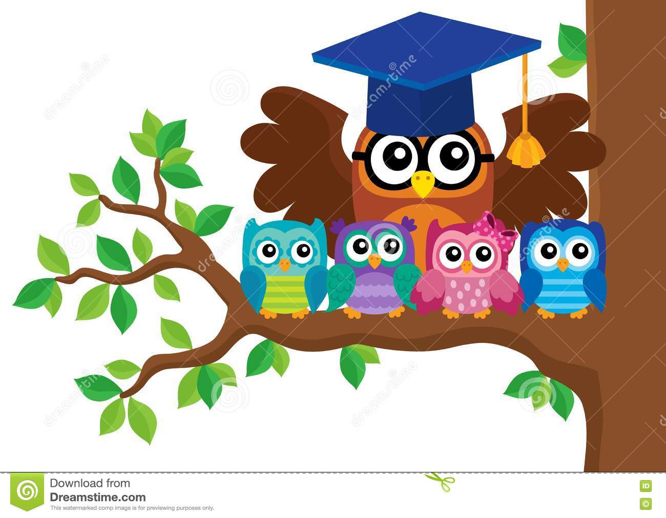 Owl Teacher And Owlets Theme Image 5 Stock Vector Illustration Of