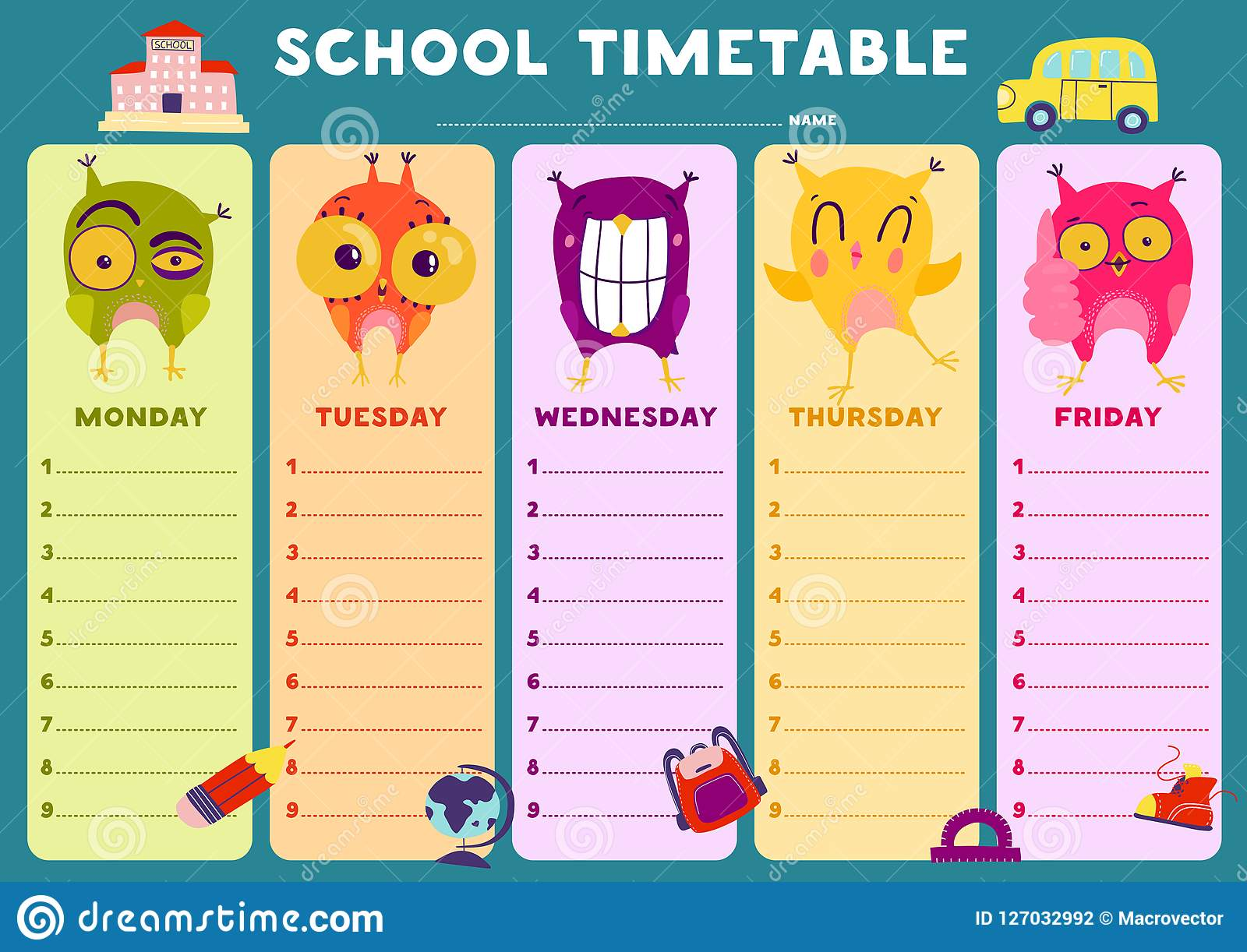 Timetable Template | Owl Timetable Template Vektor Abbildung Illustration Von Pupille