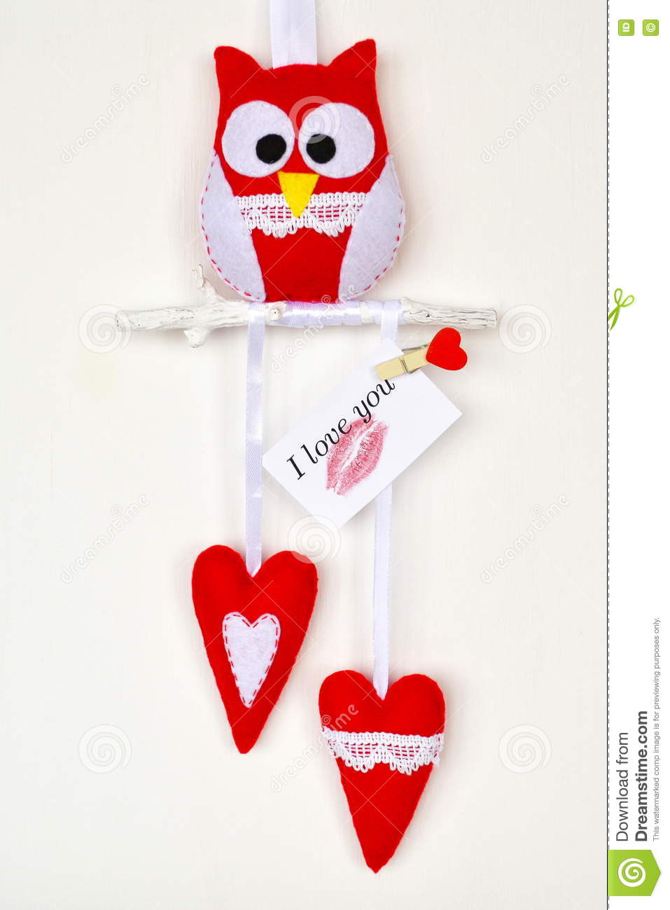 Owl Toy Two Hearts Felt Crafts Card With The Words I Love You – Valentine Card Words