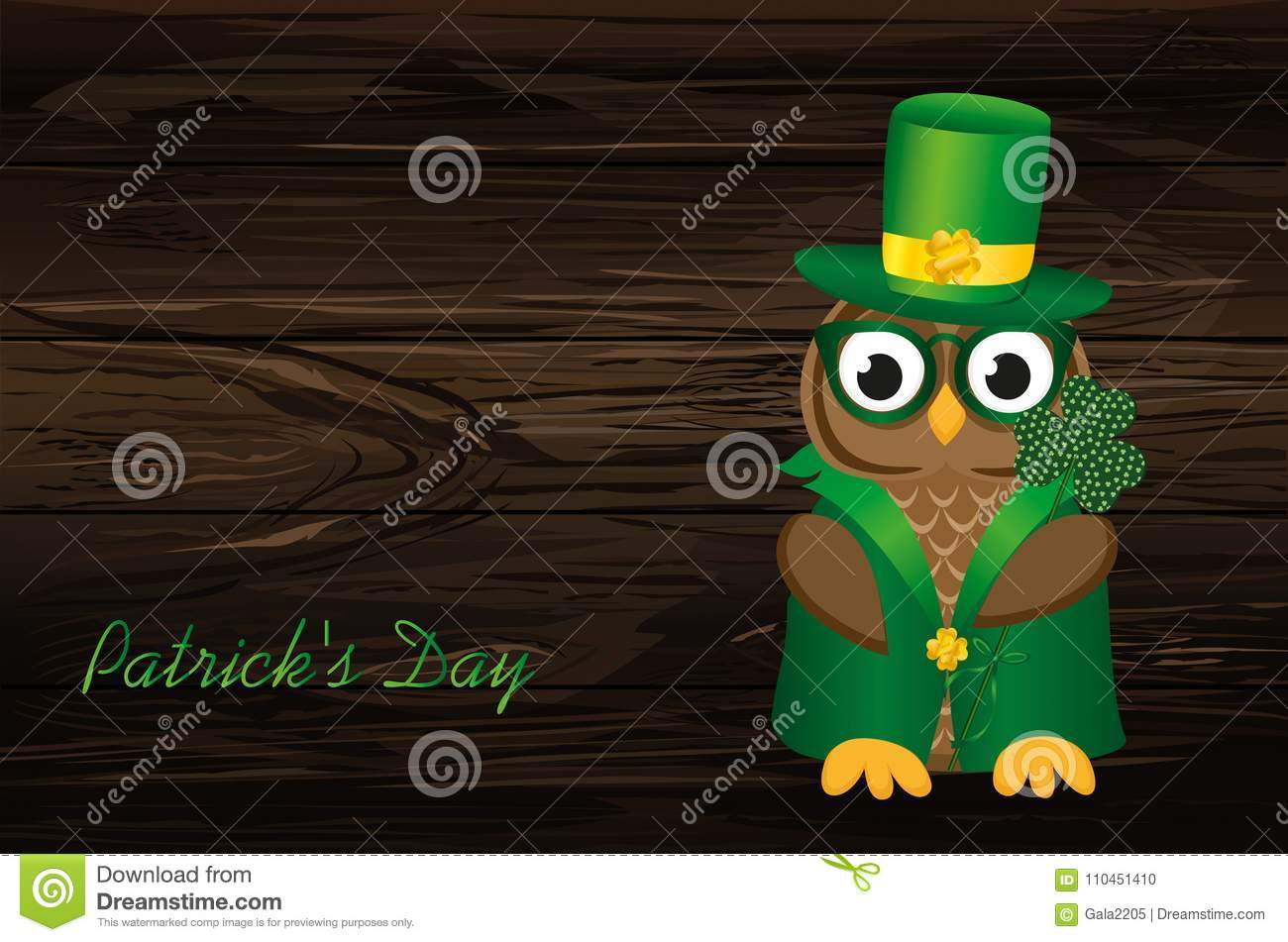 Owl In Traditional Green Suit And Glasses On The Day Of Patrick