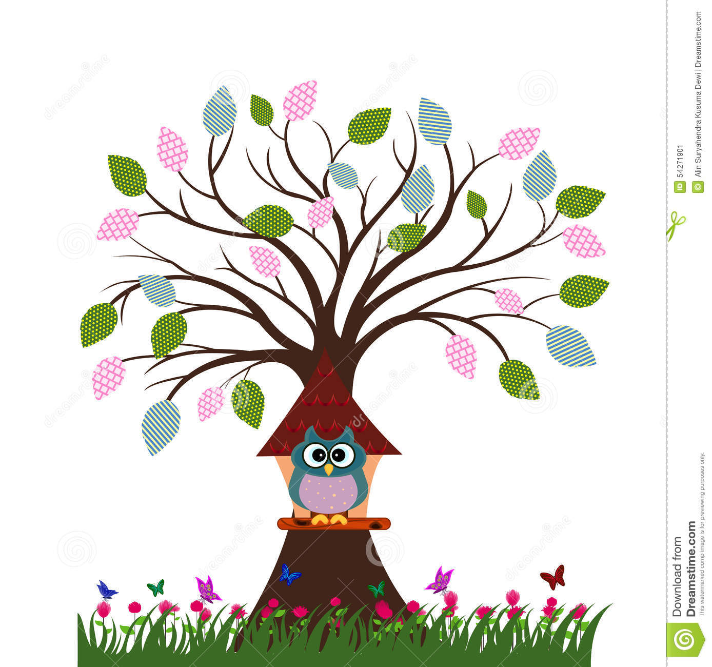 Owl In The Tree House Stock Vector Image 54271901