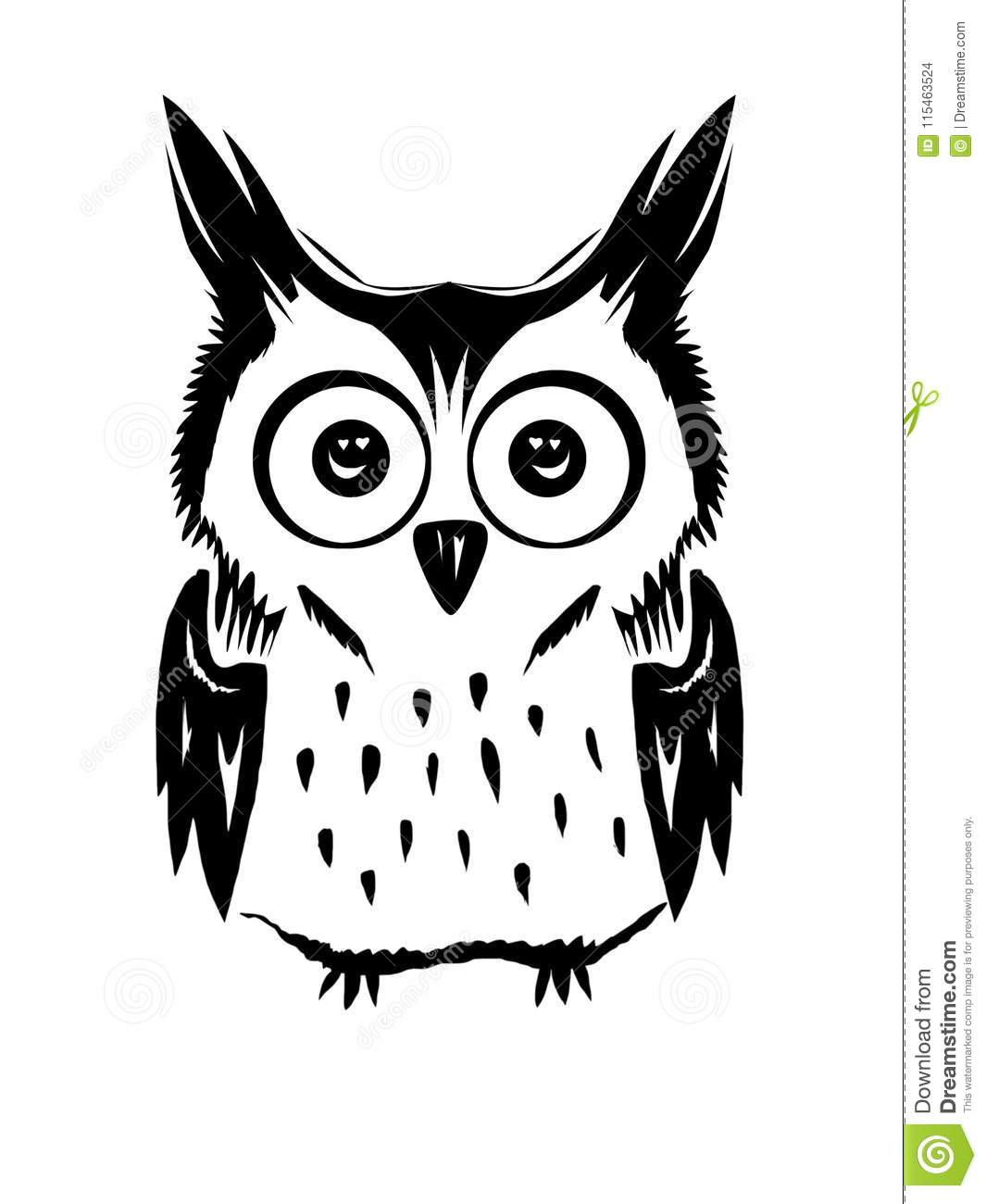 Cute owl vector black and white stock vector illustration of black