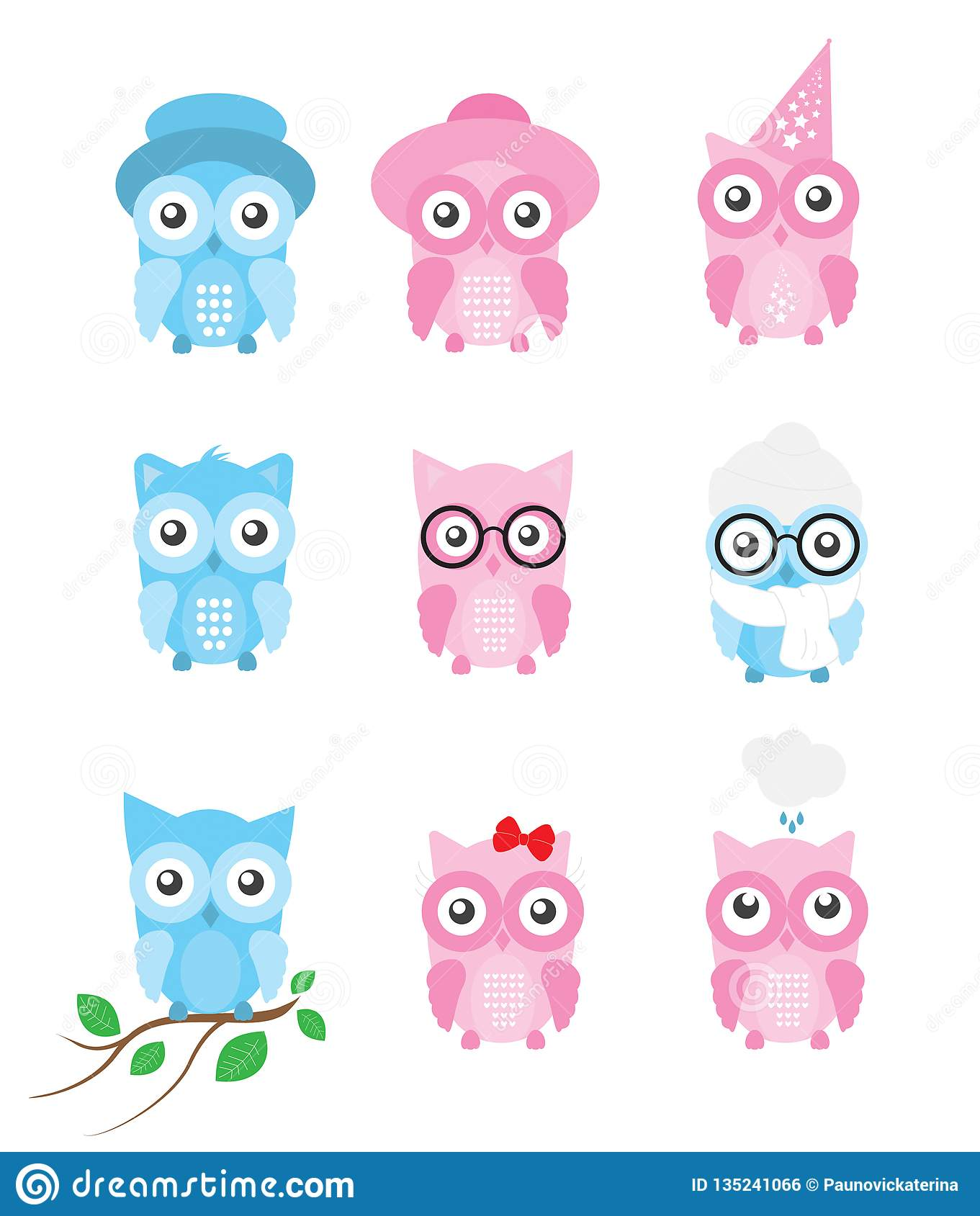 Owl Vector Collection / Set with separated cute cartoon owls illustrations, isolated on white background
