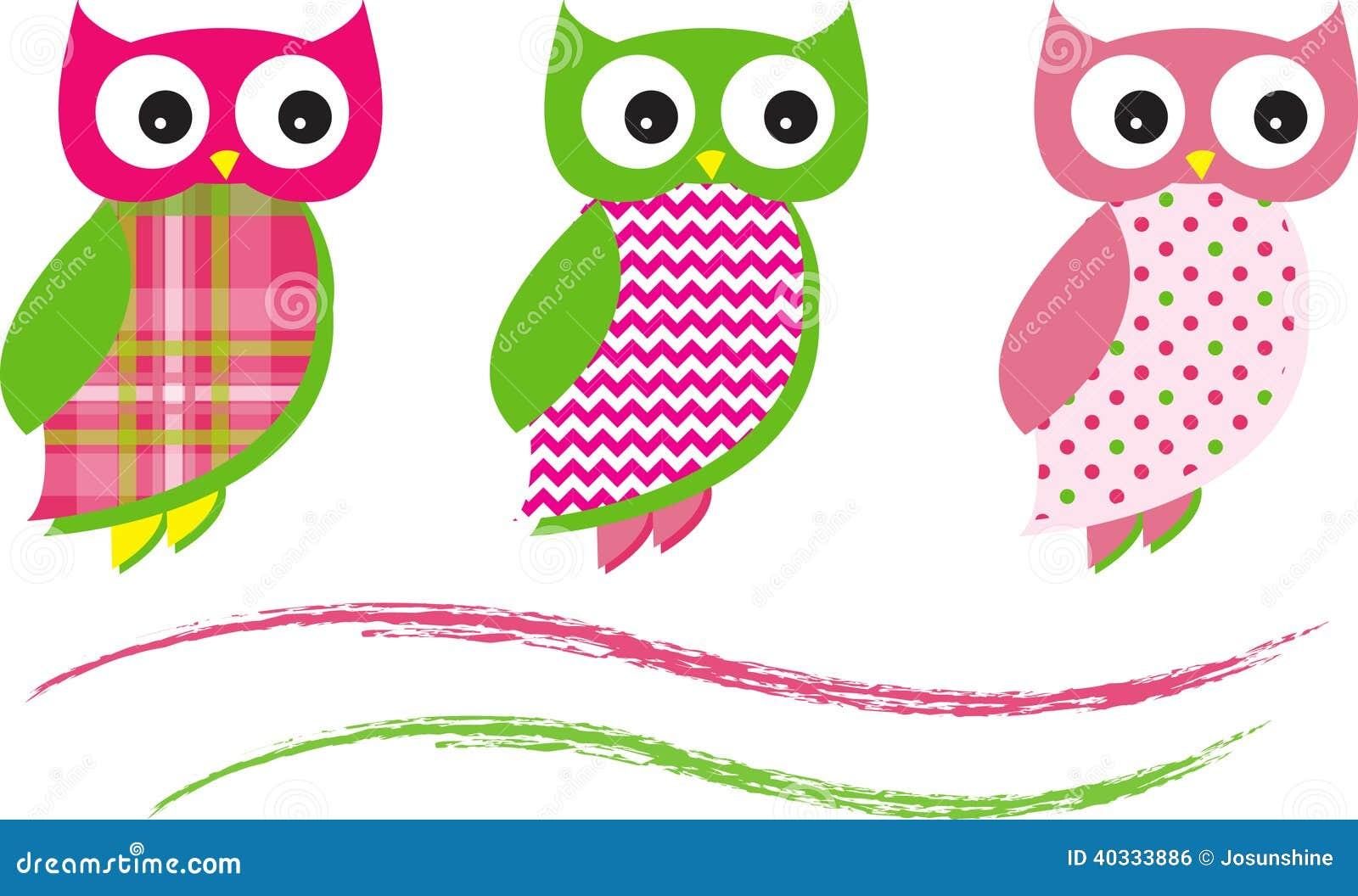 Owl Vetora Patterns Pink bonito