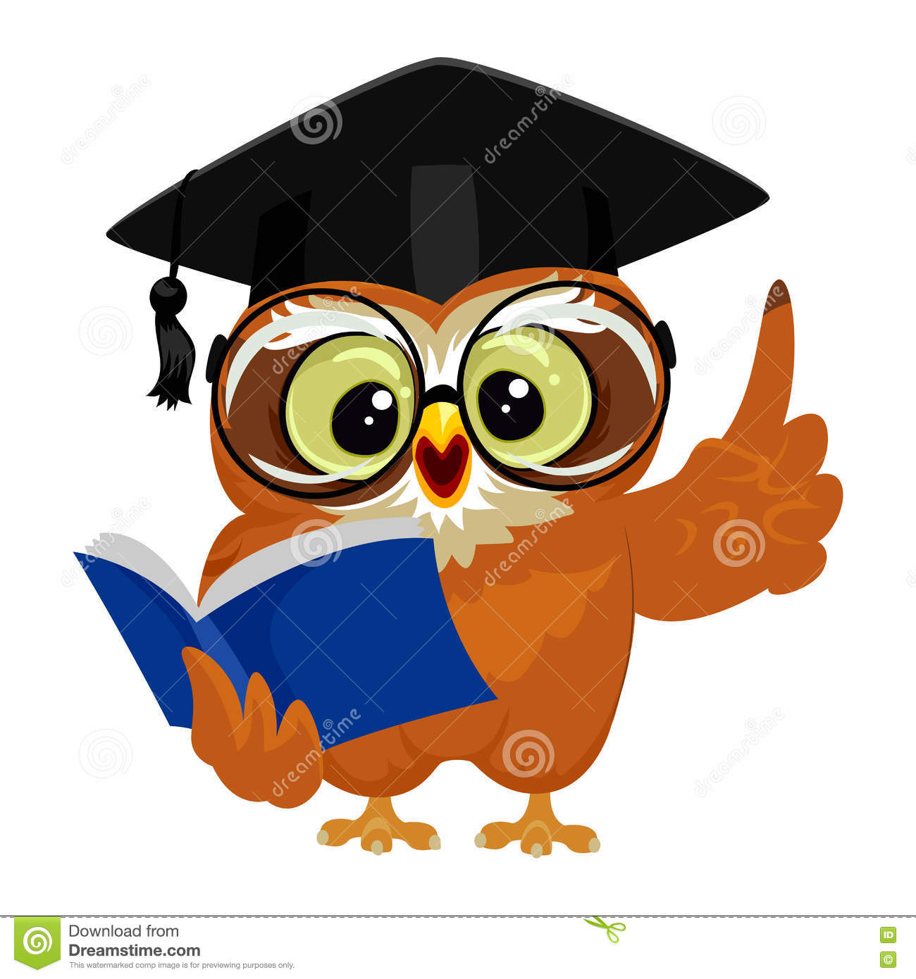 owl wearing graduation cap while reading book stock vector clip art owls in winter clip art owls in winter
