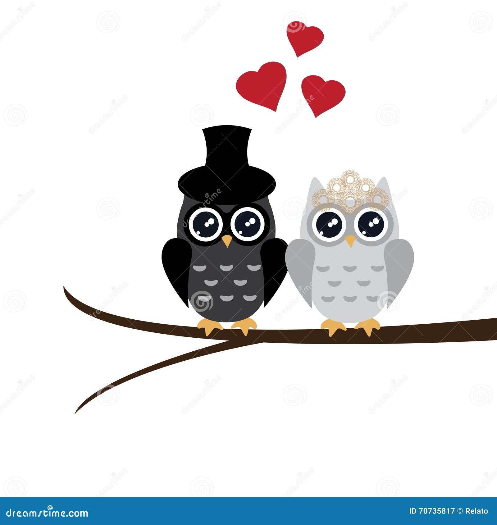 owl wedding vector illustratie afbeelding 70735817