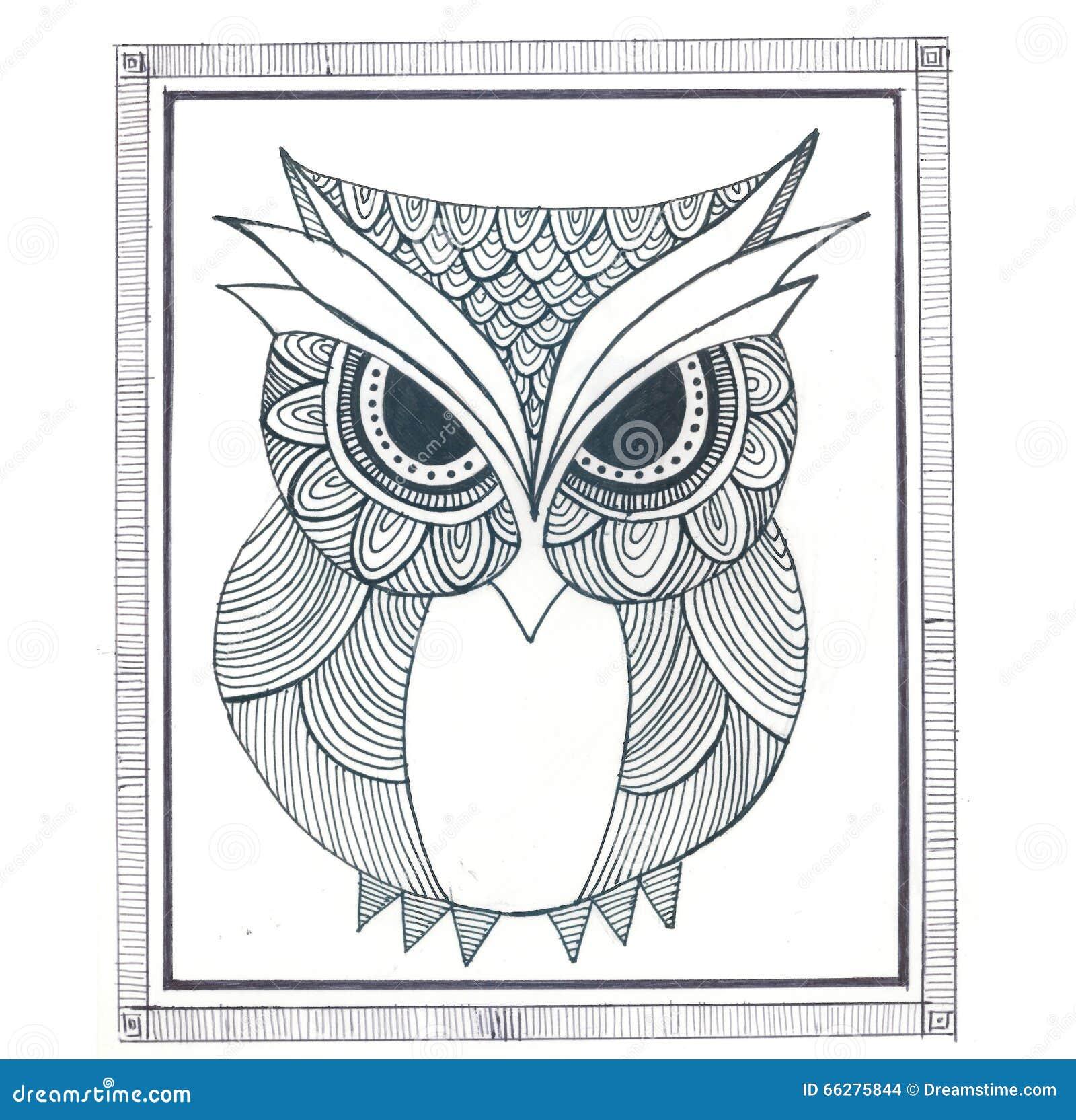 Owl Zentangle Simple stock illustration  Illustration of