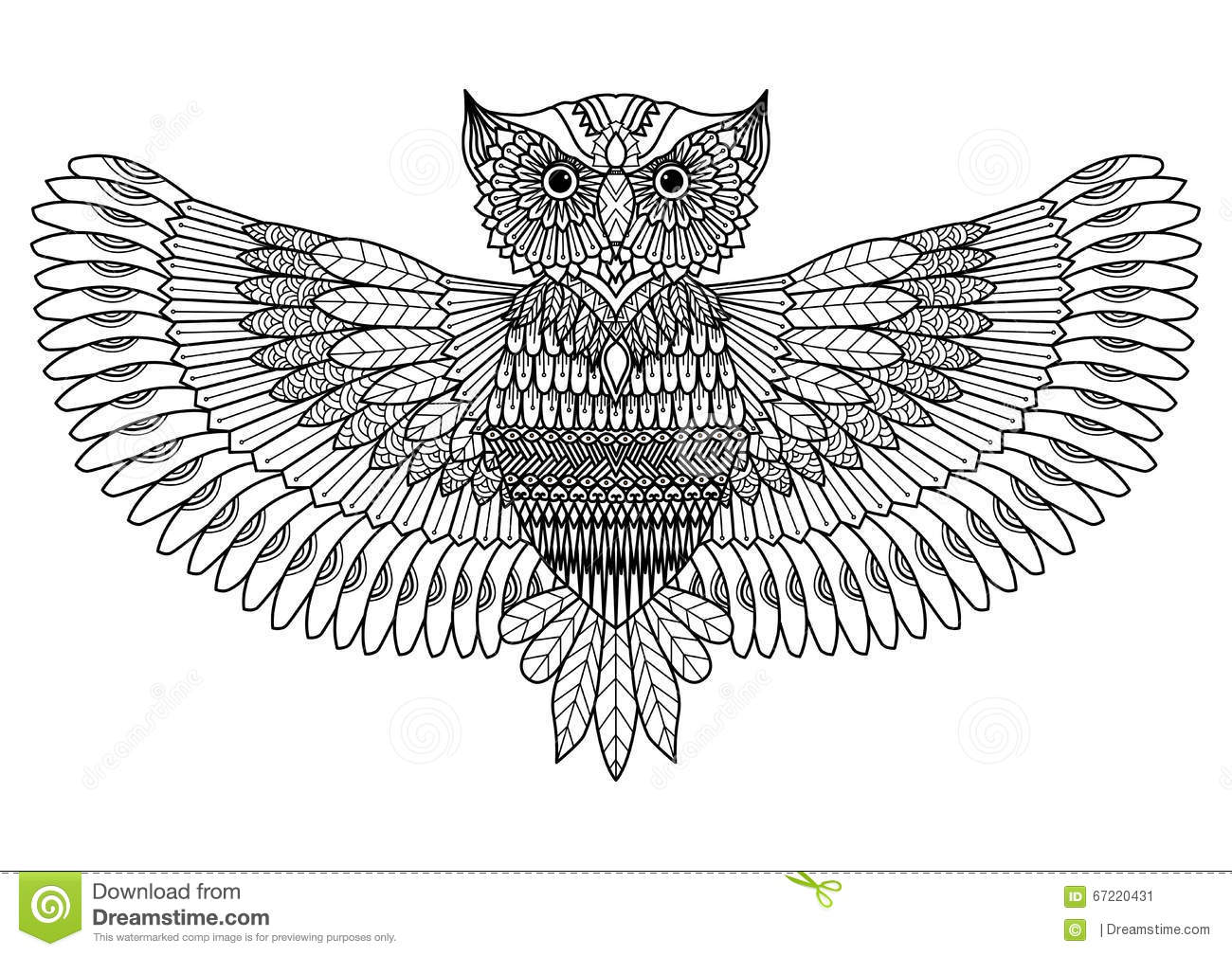 Owl Zentangle Style For Tattoo Or Coloring Book Stock Vector