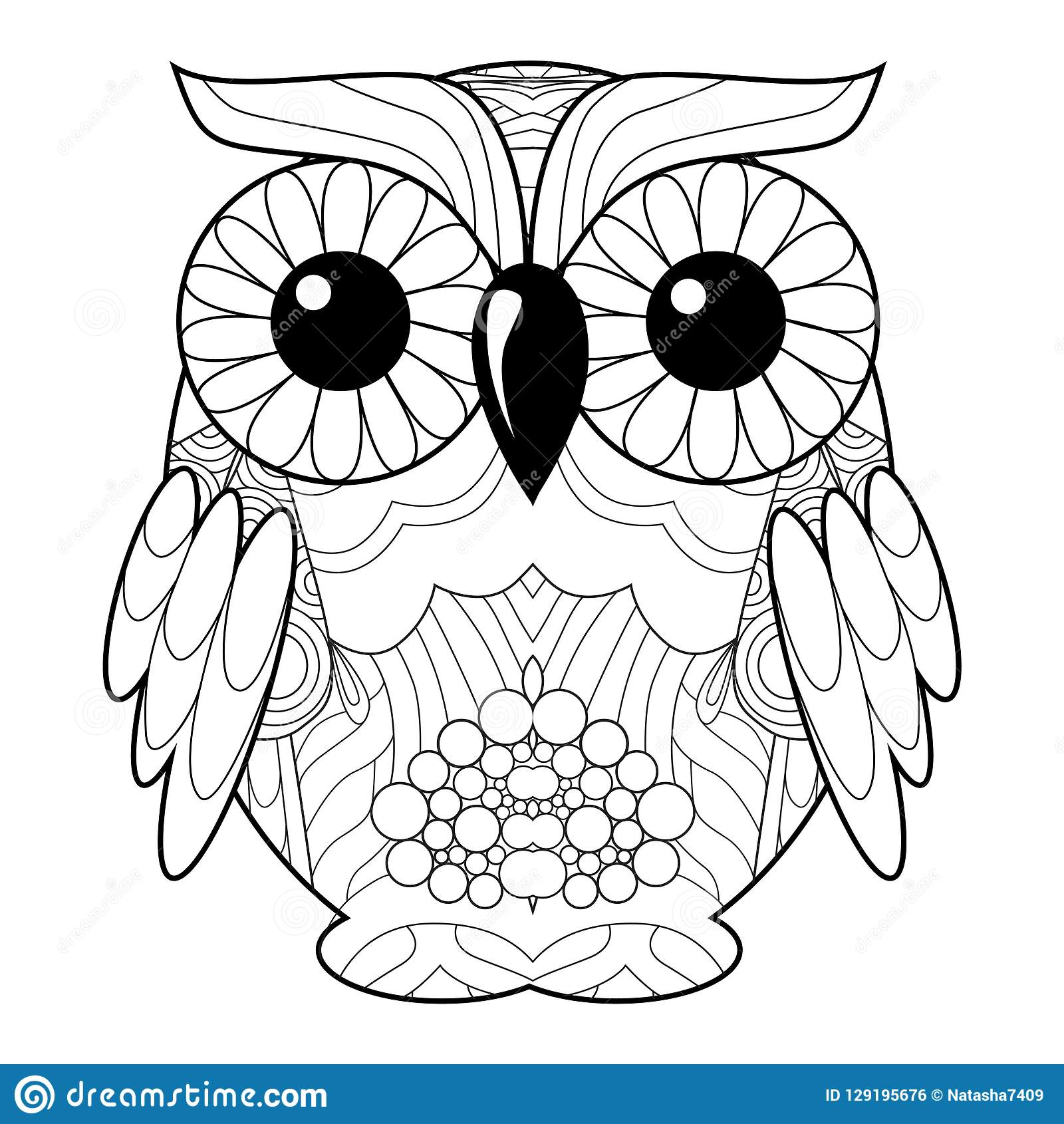 Owl For Coloring Page Or Decoration For Children Stock ...