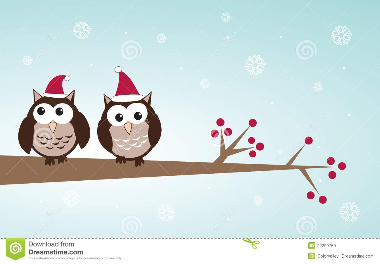 Owls Couple In Christmas Hats On The Tree Branch Royalty