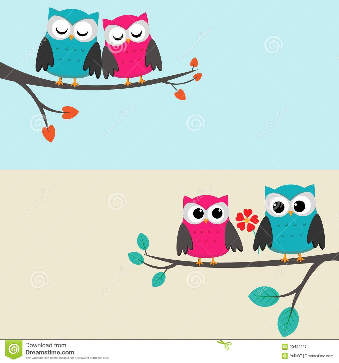 Owls color owls clip art by yulia87 on dreamstime - Owls Couples Royalty Free Stock Photography Image 20429337