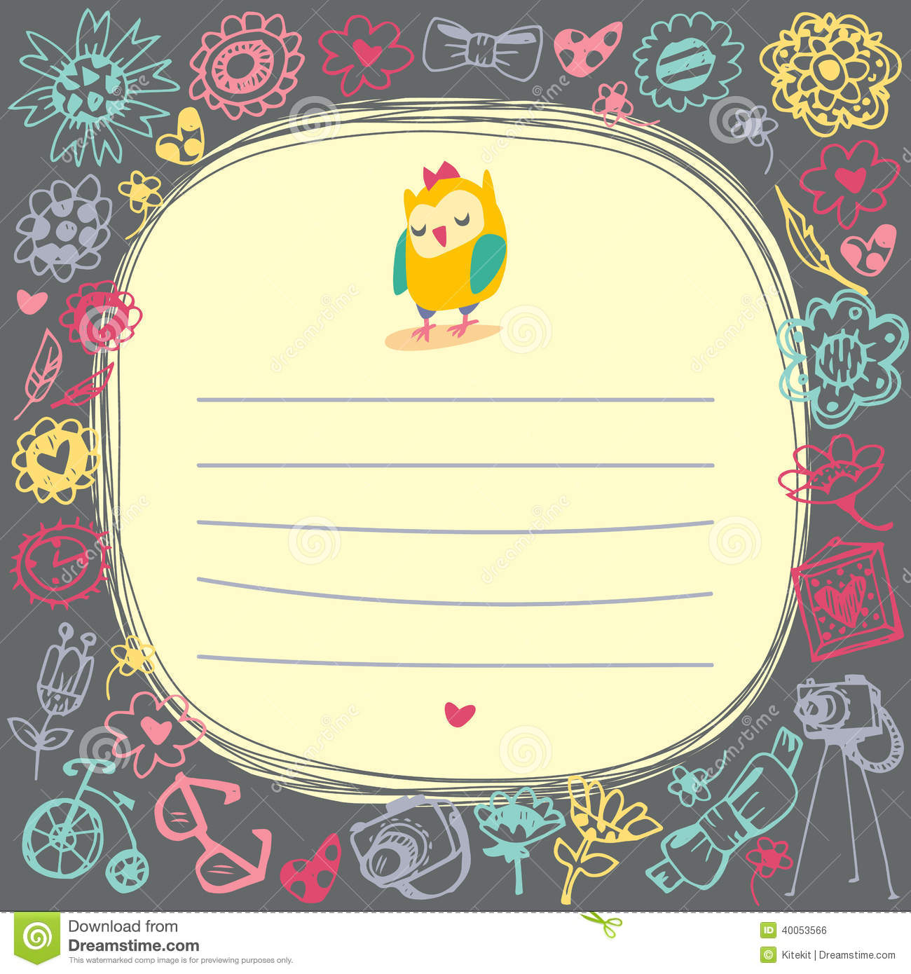 Owls cute cartoon card and sample text. Dark background. Template for ...