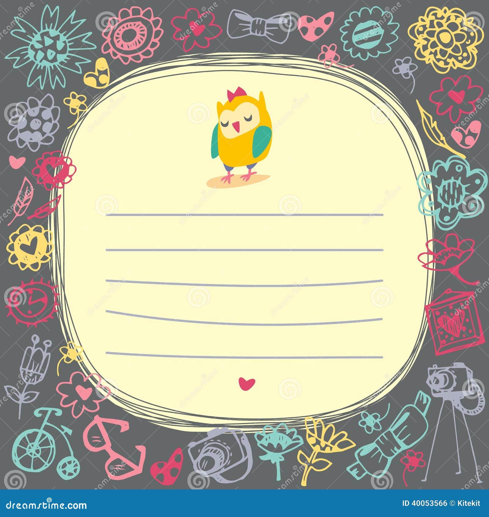 Owls Cute Cartoon Card And Sample Text Stock Vector