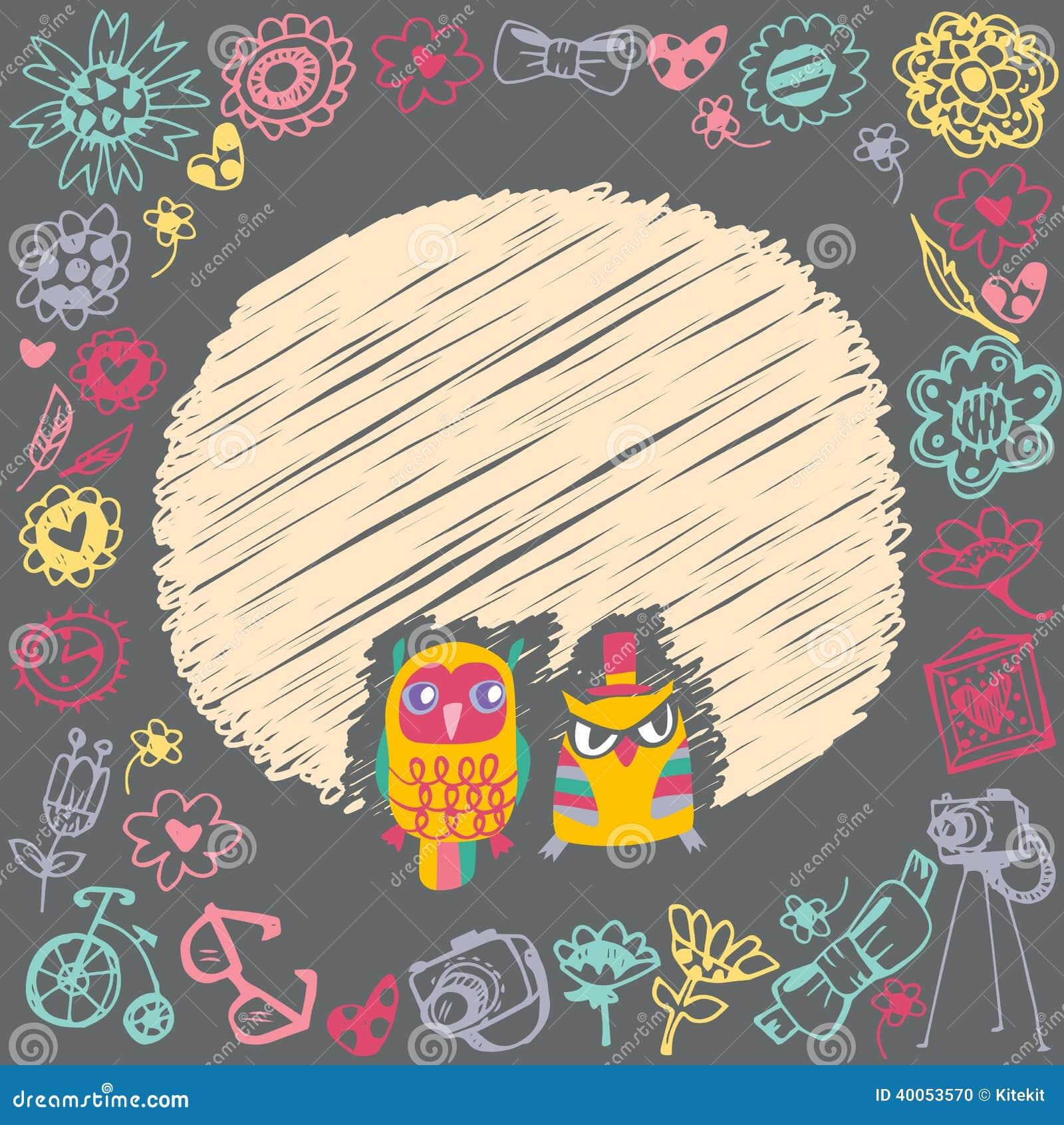 Birthday Card Designs 35 Funny Cute Examples: Owls Cute Cartoon Card And Sample Text. Stock Vector