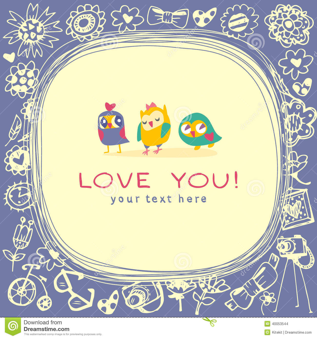 Owls Cute Greeting Card And Sample Text Stock Vector Illustration