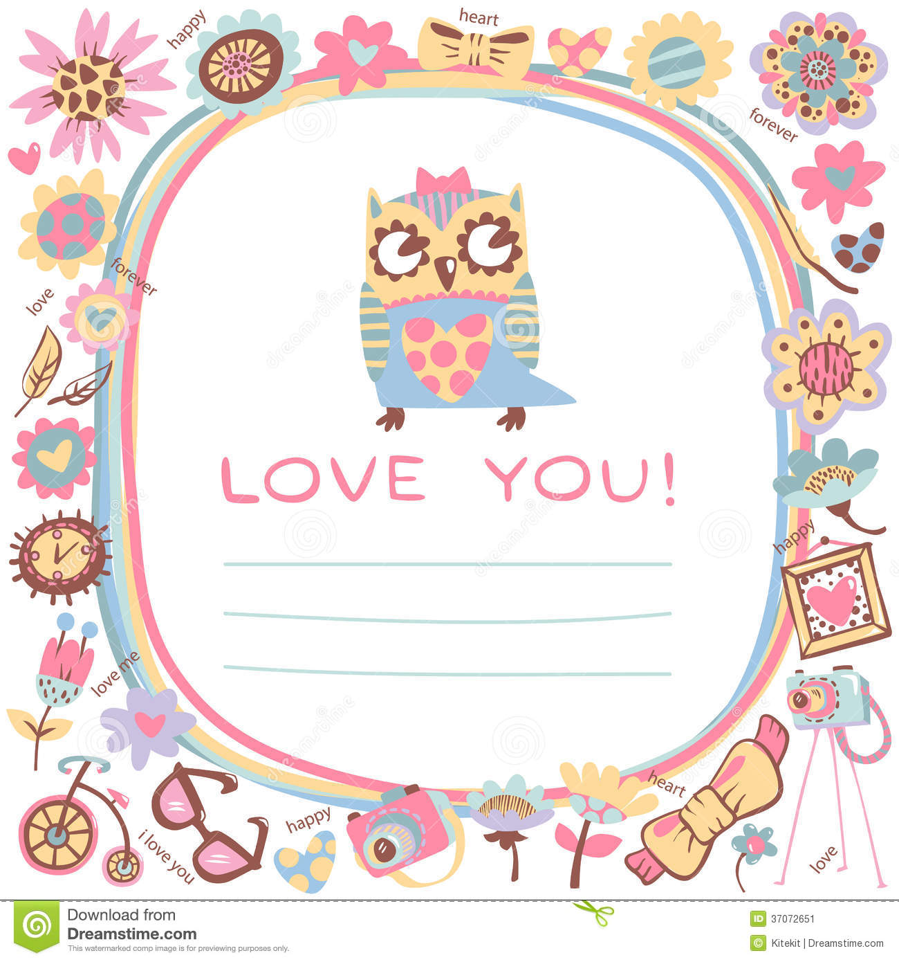 Owls Love Cute Background. Template For Design Cartoon Greeting Stock ...
