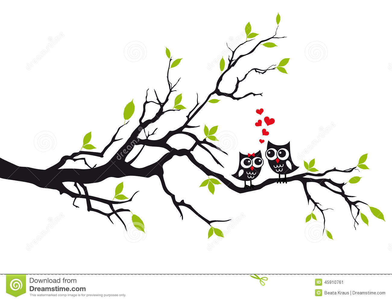 owls in love on tree  vector stock vector