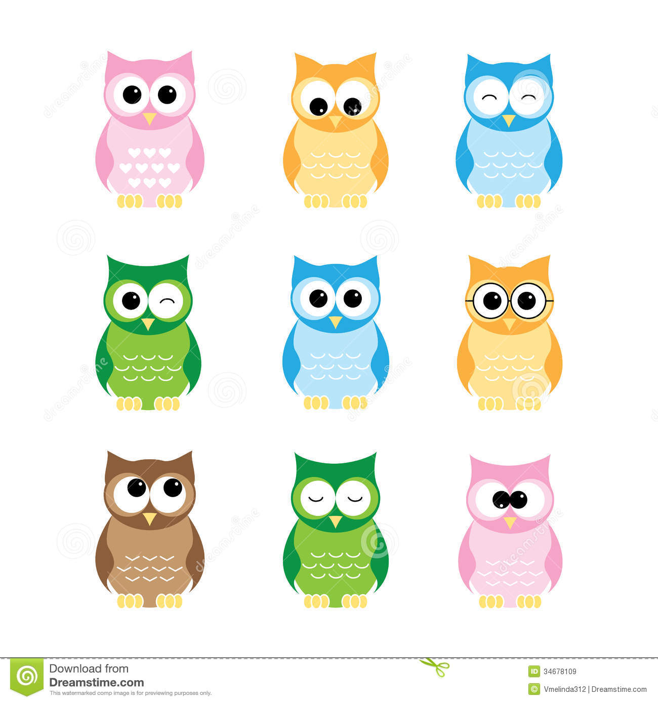 owls set - Pictures Of Owls To Color