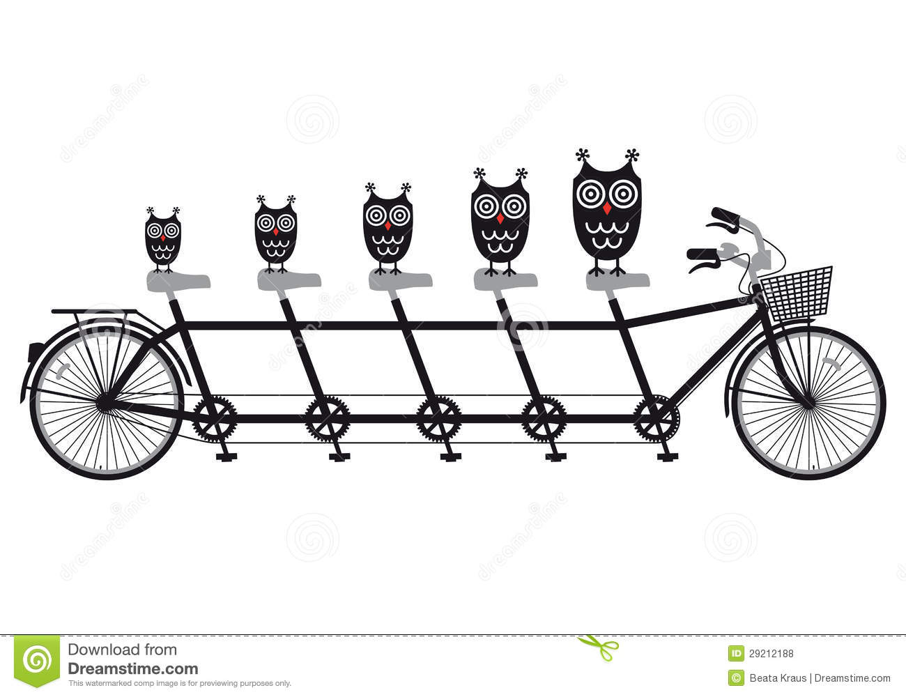 Owls On Tandem Bicycle Vector Royalty Free Stock Photos