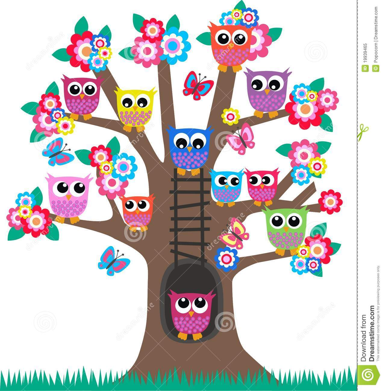 Blossom Wall Stickers Owls In A Tree Royalty Free Stock Photo Image 19939465