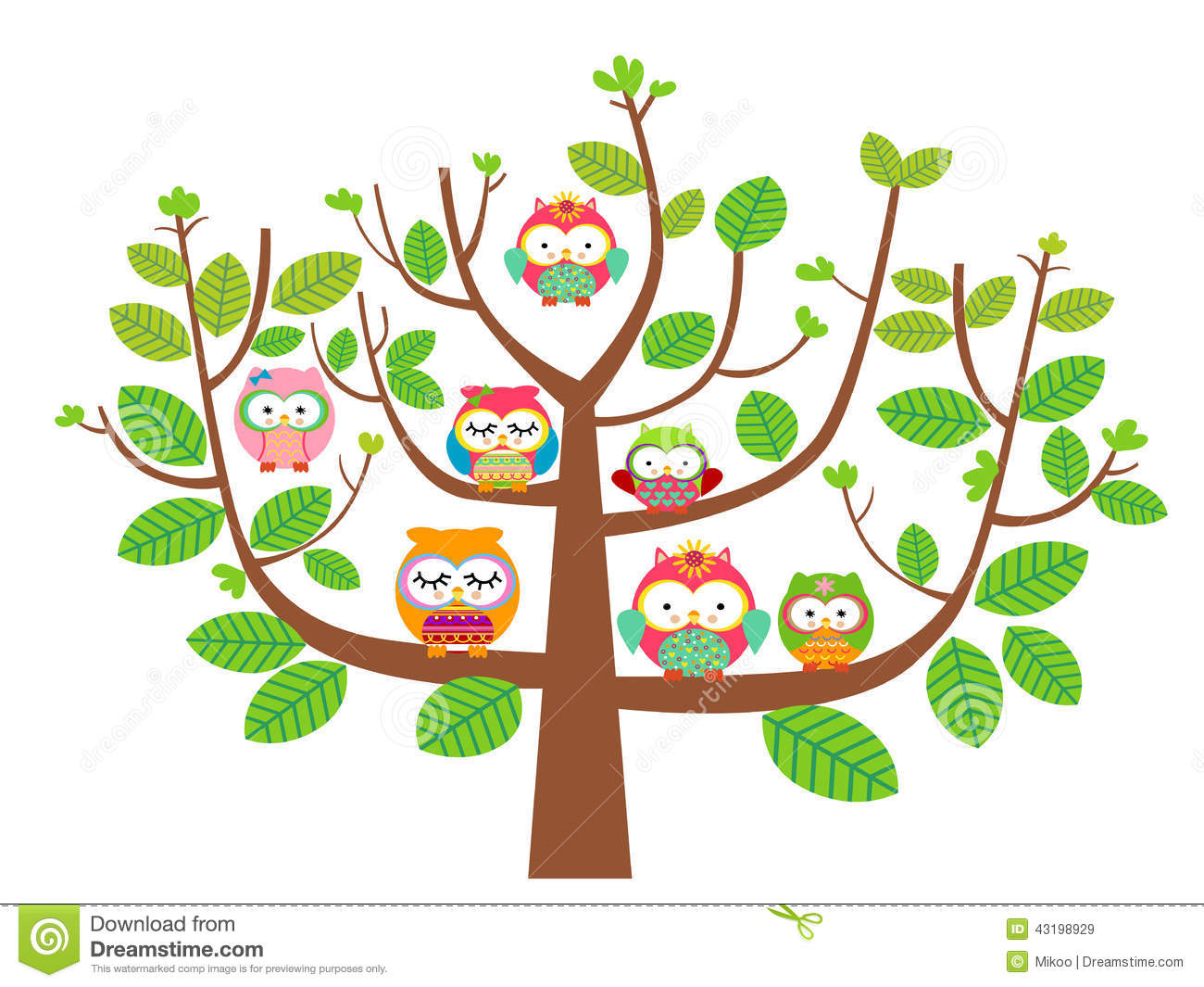 Owls and tree stock vector. Illustration of free, element ...