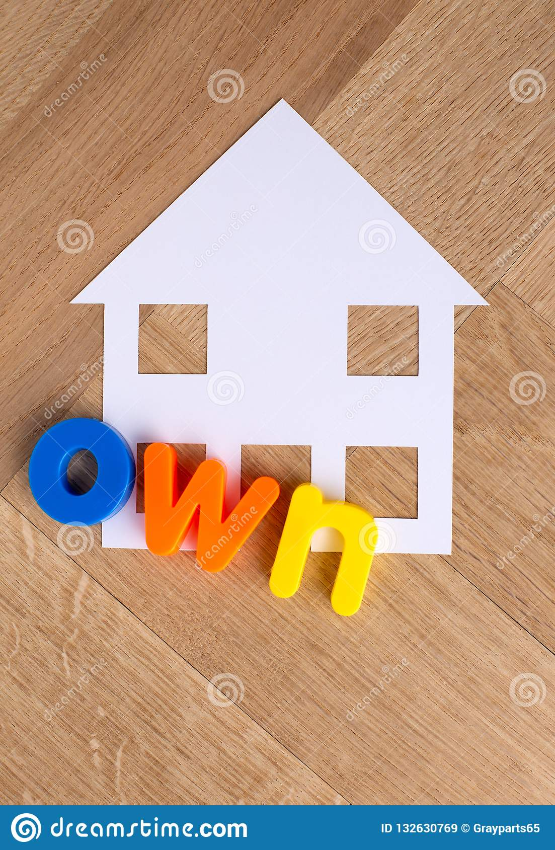 Own House Symbol On Wooden Background Stock Image - Image of sign
