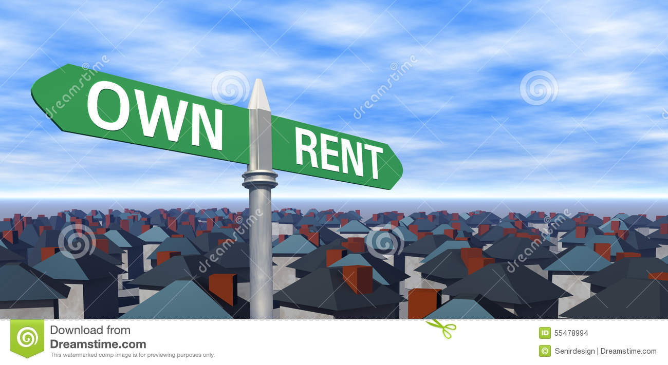 own or rent sign with houses stock illustration   image