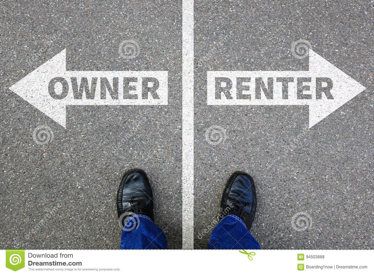 Owner renter rent own ownership rental purchase real estate house apartment concept
