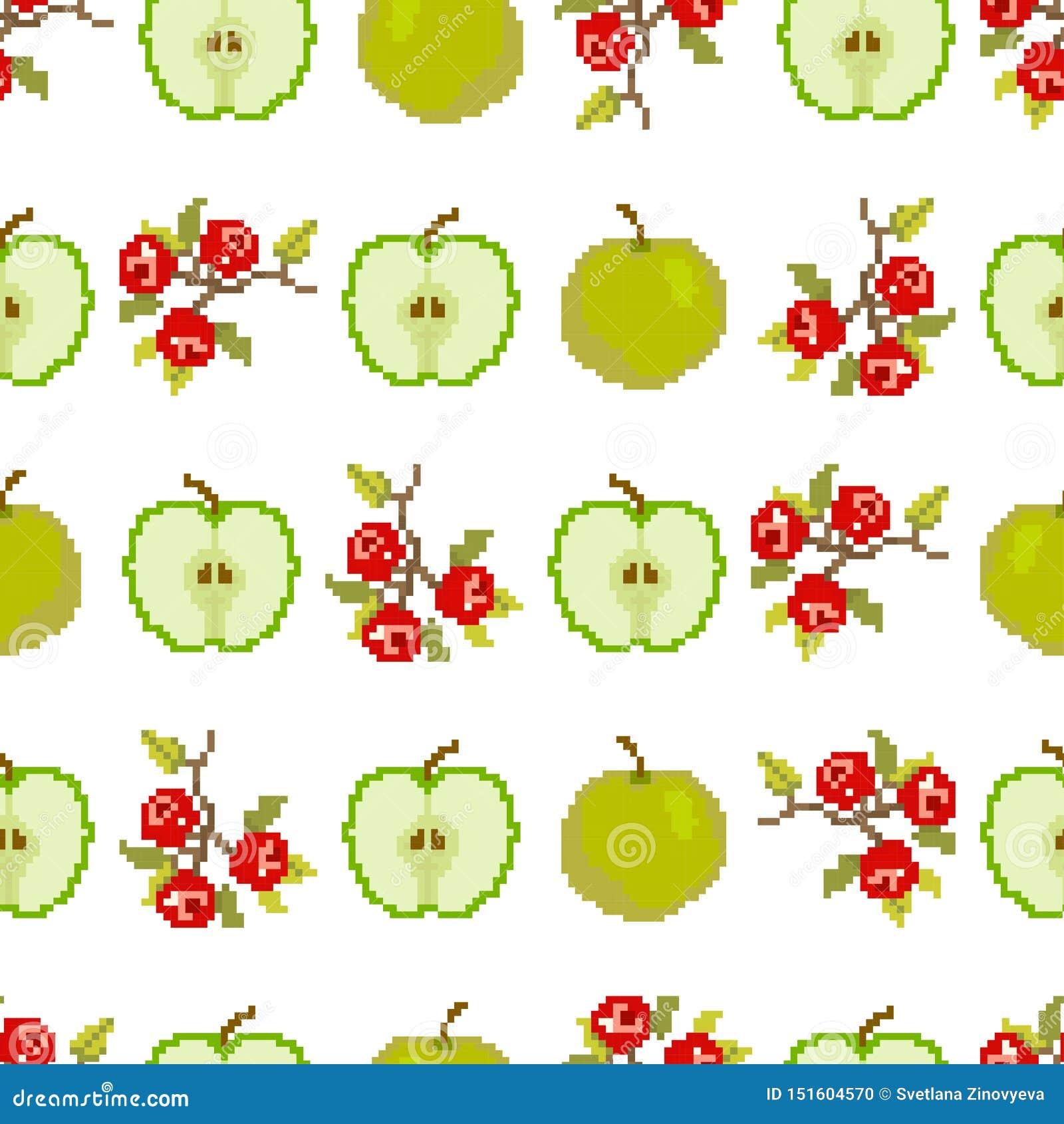 Owoc i jagody Bezszwowy wzór jabłka i jagody piksel broderia wektor